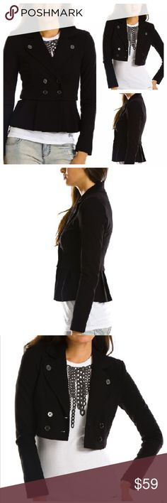 """new   Armani Exchange Convertible Peplum Jacket S This blazer from A/X has a feminine peplum detail that can be detached for a cropped jacket look. Featured rounded notched collar that buttons to body, double breasted buttons in front, zip off peplum that transforms jacket to cropped blazer. Fitted. Great structured jacket can be dressed up for work or paired with a tee for a casual look.   • sz small  • 35"""" bust   29"""" waist   14.5"""" shoulder to shoulder   24.5"""" sleeve length   23"""" length  •…"""
