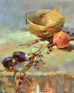 """Berry Branch"" by Ingrid Christensen. 20 x 16 oil."