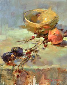 """Berry Branch"" by Ingrid Christensen. 20 x 16 oil."