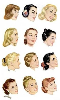 1950s Hairstyle illustrations My favourite one is the bottom left one.  Ispirazione Dei Capelli 8d70945e1ba