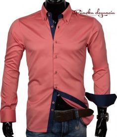 Lososová pánska košeľa #shirt #salmon #men #mensshirts #elegant #panskakosela #muzi #lososova #mensfashion #mens