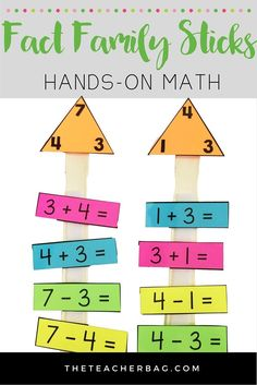 Fact family sticks- use paint sticks to create a hands-on way to practice fact families. Math Classroom, Kindergarten Math, Teaching Math, Math Work, Fun Math, Math Activities, Fact Family Worksheet, 1st Grade Math, Sixth Grade