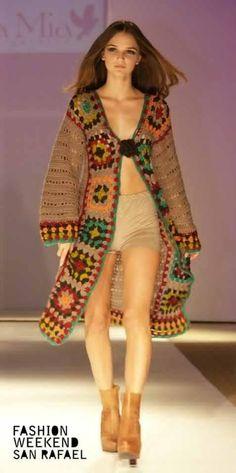 Tapado tejido al crochet en pura lana: