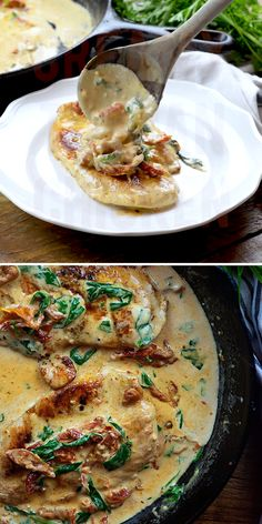 Low carb chicken in a creamy sauce with sun-dried tomatoes and spinach! Creamy Tuscan Chicken Buns In My Oven bunsinmyoven Delicious Food Creamy Tuscan Chicken! Low carb chicken in a creamy sa Low Carb Recipes, Vegetarian Recipes, Cooking Recipes, Cooking Tips, Low Carb Chicken Recipes, Paleo Food, Cooking Videos, Chicken Recipes Low Cholesterol, Chef Recipes