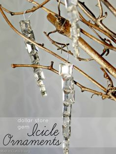 Dollar Store Gem Icicle Ornaments - Mad in Crafts