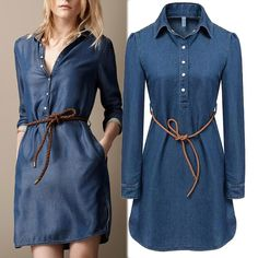 2016 summer style brand ladies denim dress women long sleeve ladies casual jeans dress with belt vestidos Plus size(China (Mainland))