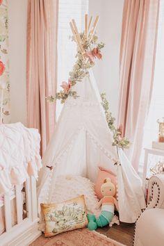 baby girl's nursery teepee.