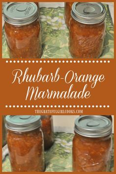 You will enjoy this thick, delicious, rhubarb-orange marmalade (made without pectin) using fresh oranges and rhubarb. Delicious spread for toast, biscuits, etc. / The Grateful Girl Cooks!