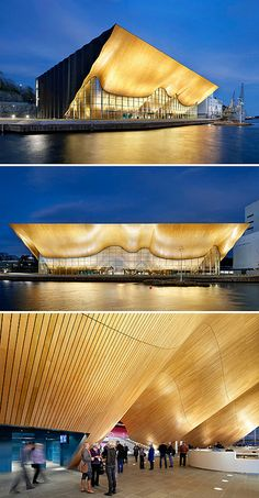 An undulating wall of local oak pierces the glass facade of the Kilden performing arts center in Kristiansand, Norway, designed by ALA. Facade Architecture, Concept Architecture, Contemporary Architecture, Cultural Architecture, Contemporary Dance, Modern Dance, Norway Design, Architectural Lighting Design, Facade Lighting