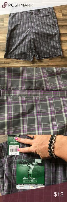 *NWT* Men's Ben Hogan shorts 36 BEN HOGAN men's plaid shorts 36. Purple, dark grey and light grey plaid. Ben hogan Shorts Flat Front