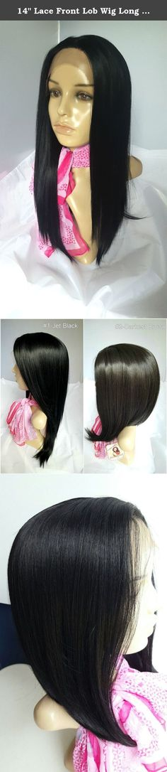 """14"""" Lace Front Lob Wig Long Jet Black#1 Long Bob Silky Straight Hair Synthetic Kanekalon Heat Friendly Fire Resistant Fiber Glueless for African Black Women. Whether you plan on going for a night out on the town or to a professional event, you will be sure to turn heads by wearing our deluxe lace front wig. Hair strands are attached onto mesh lace in front of the wigs' hairline. It can be temporarily glued to one's skin around the hairline, so you can't see where the lace starts or ends...."""