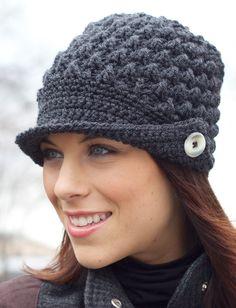 Yarnspirations.com - Patons Women's Peaked Cap - Patterns    Yarnspirations