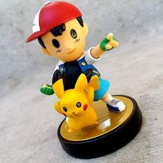 Pokemon Trainer Ash Ketchum and Pikachu customized from Ness Amiibo