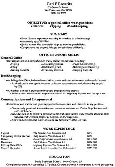 resume office clerk