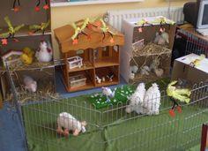 Leuk om met kleuters/peuters een boerderij na te maken in de klas. Laat elk kind een knuffel meenemen en maak er zo een leuk geheel van. De stallen maak je van dozen o.i.d.