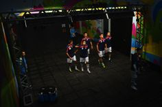 Players of Iran make their way out to the pitch for a warm up prior to the 2014 FIFA World Cup Brazil Group F match between Iran and Nigeria at Arena da Baixada on June 16, 2014 in Curitiba, Brazil.