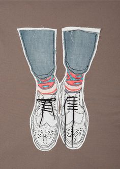 Embroidered Illustration - Brogues by Ann-Kathrin Schäfer, via Behance