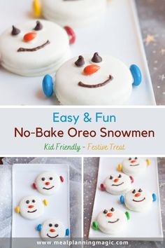 These Easy & Fun Snowman Oreo Cookies are festive treat and a perfect no bake treat option that are easy for kids to help with too! #snowmancookie #easyrecipe #nobakerecipe #kidfriendlyrecipe Christmas Desserts, Christmas Treats, Christmas Baking, Christmas Cookies, Christmas Foods, Christmas Punch, Christmas Appetizers, Christmas Candy, Christmas Recipes