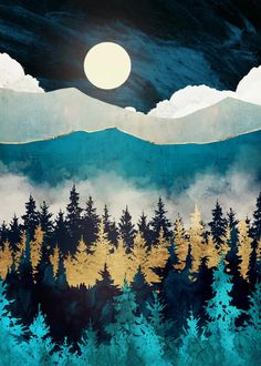 Poster made out of metal. Abstract landscape of evening mist with trees, mountains, blue and gold Abstract Canvas Art, Canvas Wall Art, Abstract Digital Art, Painting Canvas, Diy Wall Art, Home Decor Wall Art, Art Deco Pictures, Painting Pictures, Nature Posters