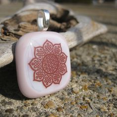 Ornate Pink Glass Pendant by GlowingGlassStudio on Etsy