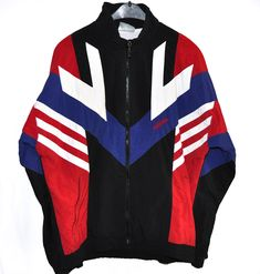 64ae6e26bbc6 Vintage 90s Adidas Windbreaker Tracksuit Top jacket Color Block Black red  white blue Spell out Size M L D180
