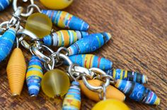 Paper Bead Jewelry  Yellow and Blue Necklace