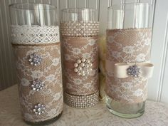 LARGE BURLAP and Lace Vase Victorian Rustic Chic by ASplendidThing