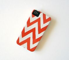 Chevron ORANGE IPhone 4/4s case Pattern Geometric Arrows Modern Tribal redtilestudio
