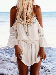 White Off The Shoulder With Lace Playsuit