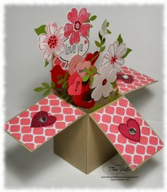 Stampin' Up!, Card In A Box, Flower Shop, Hearts A Flutter