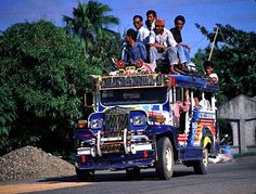Jeepney, transportation in the Philippines. Based on the jeeps left over from the American occupation.