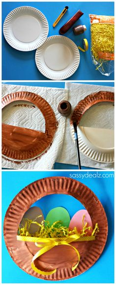 Paper Plate Easter Basket craft for kids! #Easter art project #DIY | http://www.sassydealz.com/2014/03/3d-paper-plate-easter-basket-craft-kids.html