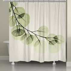 The Laural Home Eucalyptus Shower Curtain offers a beautiful, serene image of a eucalyptus branch that makes a perfect addition to any contemporary bathroom decor. This polyester curtain feature crisp colors and can be personalized. Green Shower Curtains, Shower Curtain Sets, Bathroom Shower Curtains, Unique Shower Curtains, Shower Tiles, Plywood Furniture, Furniture Stores, Eames, Eucalyptus Shower