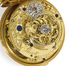 Ellicott, London A VERY FINE GOLD PAIR CASED REPOUSSE CYLINDER WATCH 1763, NO. 5152 • Movement: gilded full plate movement, cylinder escapement, decoratively pierced and floral engraved balance cock, flat three-arm balance, diamond endstone, fusee and chain, cylindrical pillars, gilt-metal dust cap, movement and dust cap signed and numbered Ellicott, London 5152     •  Dial: white enamel dial, Roman numerals, outer minute ring, blued steel beetle and poker hands