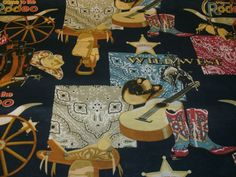 1 Yd Cowboy Quilt Fabric Patch Horses Western Rodeo Country Boots Hats Bandanas #Marshall