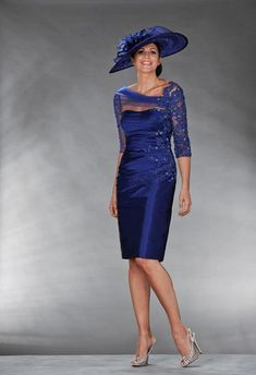 Sheath/Column 3/4 Sleeves Beading Strapless Satin Knee-Length Mother of the Bride Dresses