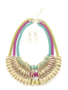 Rainbow Statement Necklace and Earrings Set