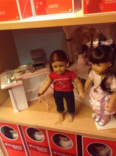 My saige doll with Samantha in her ice cream parler