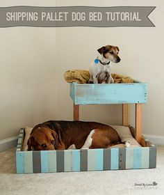 How cute! Check out this Shipping Pallet Dog Bed Tutorial from Saved By Love Creations. || @savedbyloves