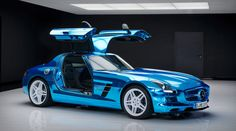 The three-pointed-star German automobile brand, Mercedes-Benz has now finally rolled out the 'world's most powerful series production electric car', dubbed as the SLS AMG Coupé Electric Drive. The very idea of an electric Mercedes-Benz SLS AMG whic Mercedes Sls, Bugatti, Lamborghini, Ford Mustang, Mercedez Benz, Electric Boat, Aston Martin Vanquish, Super Sport Cars, Super Car