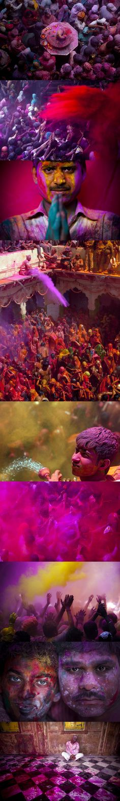 Holi Festival - India  Holi or Holika originated in ancient India as a festival that symbolizes good triumphing over evil. The day following the ritual is a the colorful celebration. The day, called Dhuleti, is celebrated by throwing colored powder in the air, at other people, and in every direction.   #spirithoods #inneranimal