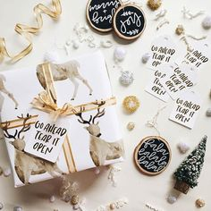 hand-painted wrapping paper, tags and ornaments from calligraphy genius @olivepaperco