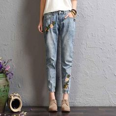 HAOYOUDUO Flower Embroidery Jeans Female Vintage Harem Pants 2017 Autumn Winter Pockets Loose Denim Jeans Women Bottom