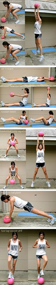 Medicine ball interval workout: Burpees, Sit n Reach, Russian Twist, Basketball Jump Squats, Medicine Ball Plank,  Toe Tap Soccer Drill. This is gonna def be added to my routine :) Using a basketball instead!