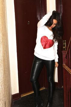 holiday sweater + leather leggings