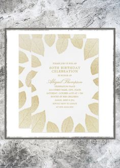 Shop Birthday Party Elegant Gold Leaves Invitation created by superdazzle. Personalize it with photos & text or purchase as is! Country Birthday Party, Rustic Birthday Parties, Fall Birthday, 80th Birthday, Birthday Celebration, Custom Invitations, Invitation Design, Business Invitation, Birthday Party Invitations