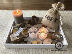 sinterklaas versiering met jute zakje via Wis en Waarachtig High Tea, Holiday Crafts, Candle Jars, December, Events, Holidays, Winter, Holland, Centerpieces