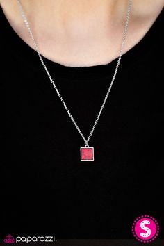 As if chipped from a cliff, a beautiful red stone is chiseled into a smooth square, creating a dainty pendant below the collar. A sleek silver frame encases the colorful stone, adding a handcrafted feel to the artisan inspired palette. Features an adjustable clasp closure.    Sold as one individual necklace. Includes one pair of matching earrings.