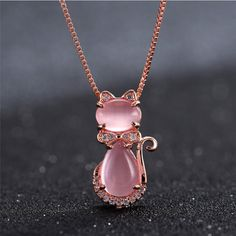 Cute Pink Kitty Cat Pendants Charms Bowknot Crystal Necklace Love statement Necklace for Women Lady Jewelry collier femme X7-M2