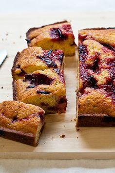 Caramelized Plum, Polenta & Rosemary Pound Cake...<3